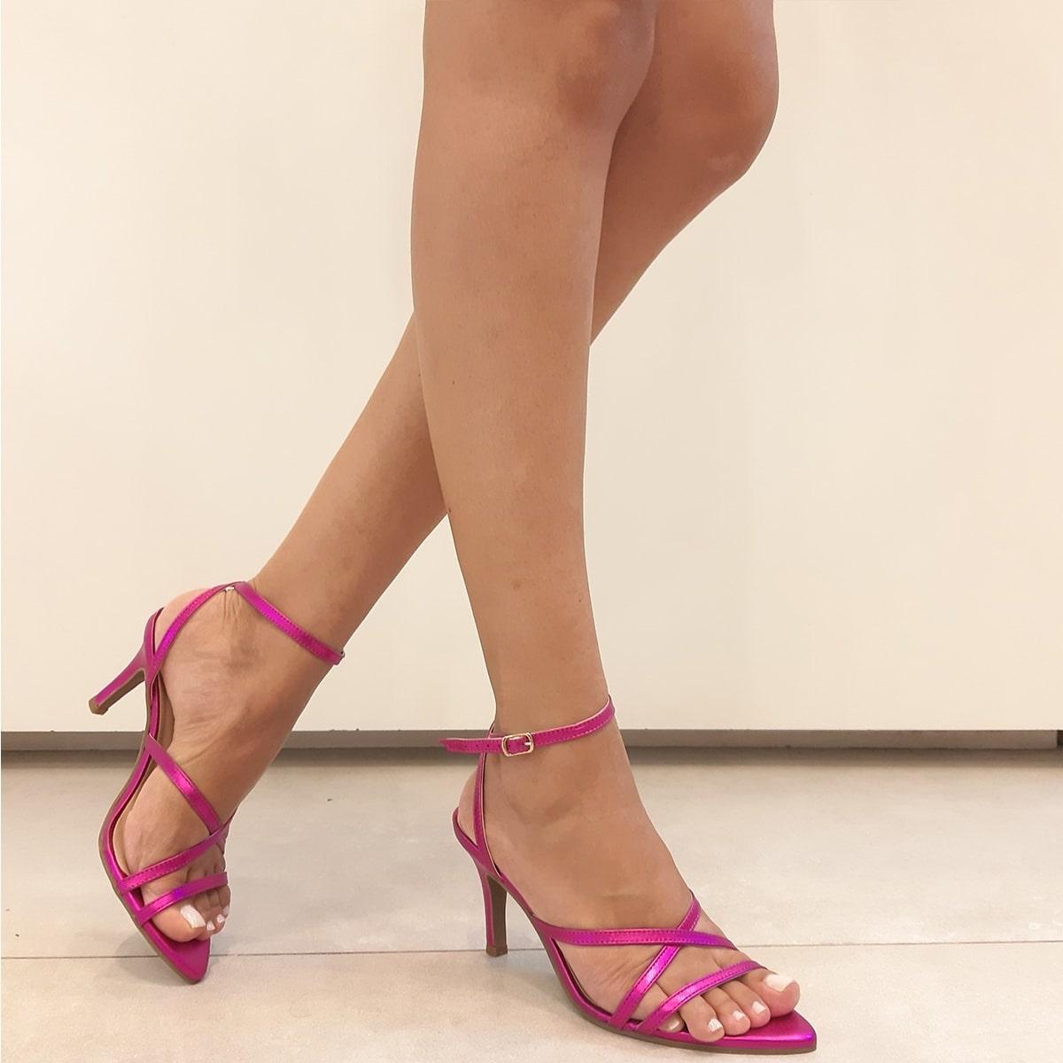 Sandália Bico Folha Couro Pink Metalizado