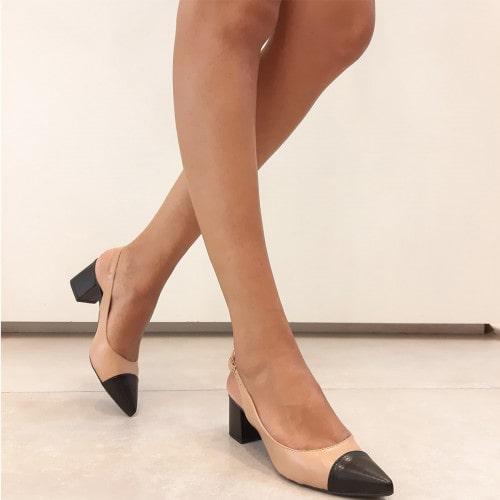 Sapato Chanel Couro Nude com Preto