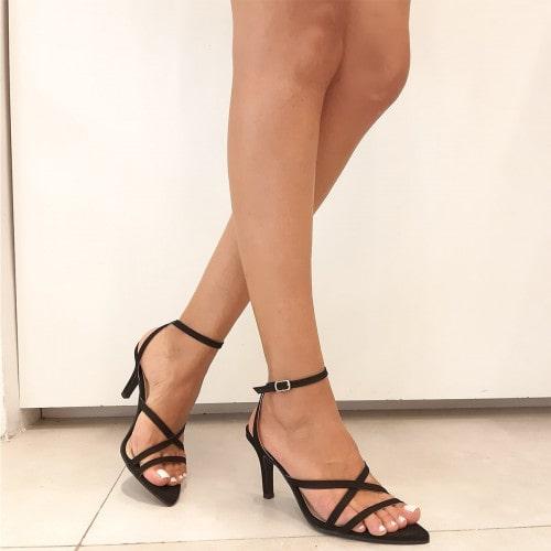 Sandália Bico Folha Nobuck Preto