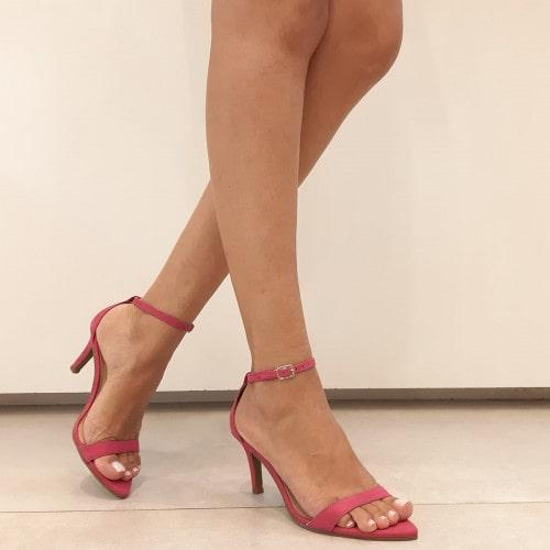 Sandália Gisele Bico Folha Nobuck Pink