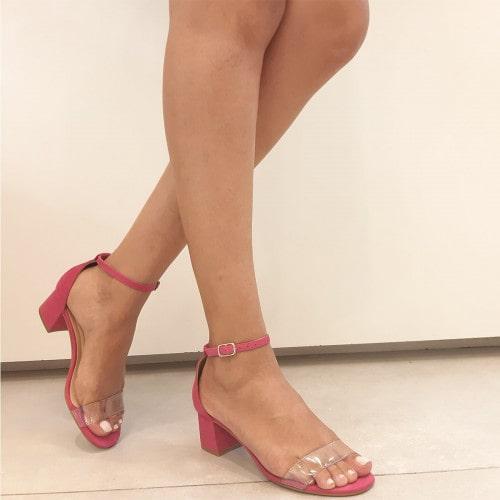 Sandália Jéssica Vinil Nobuck Pink