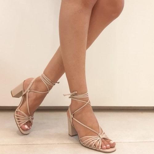 Sandalia Salto Grosso Nude