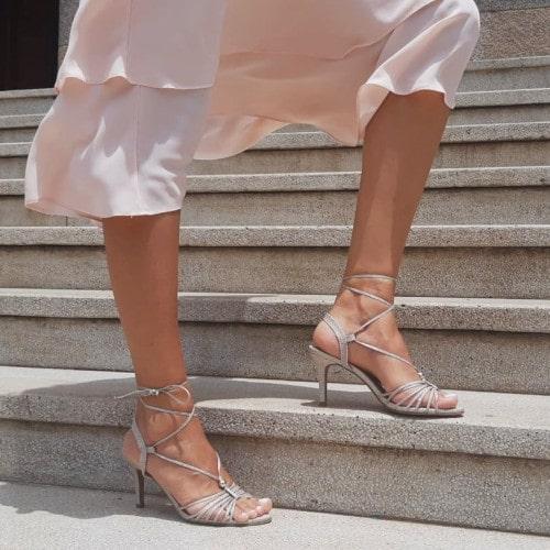 Sandália Salto Fino Glitter Champanhe