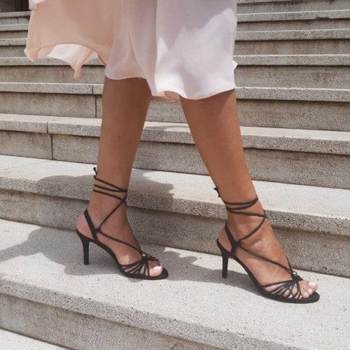 Sandália Salto Fino Glitter Preto