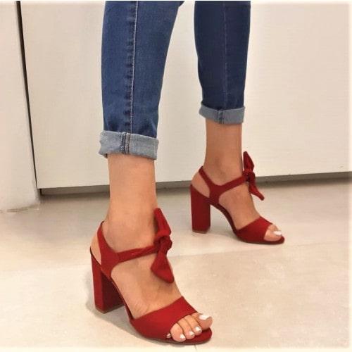 Sandália Lace-Up Salto Grosso Vermelha