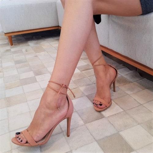 Sandália Amarração Nobuck Nude