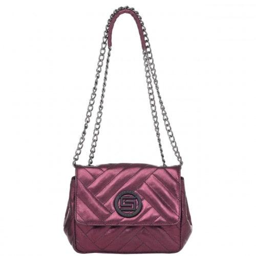 Bolsa Transversal Smartbag Couro Metalizado Purpura